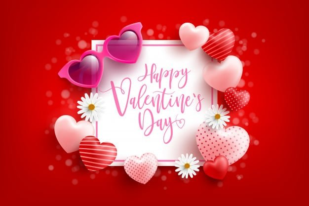 Thiệp chúc mừng lễ tình nhân ngọt ngào với trái tim xếp quanh
