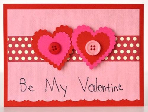 Thiệp hamade valentine cực dễ thương với trái tim hạt nút
