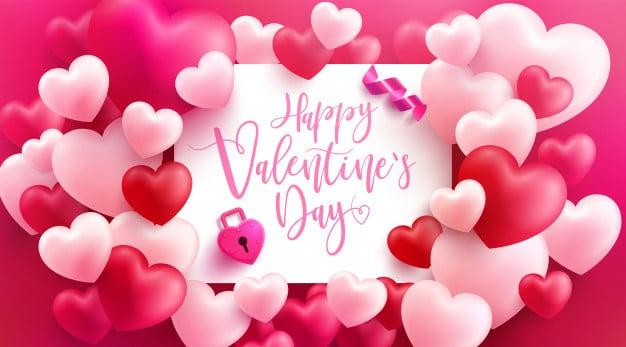 Thiệp ngập tràn trái tim cho ngày valentine hạnh phúc