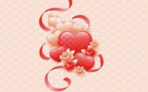 Thiệp valentine trái tim dễ thương kết lại với nhau