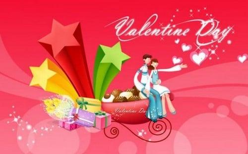 Thiệp valentine với cặp đôi hạnh phúc đáng yêu