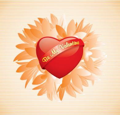Thiệp valentine với trái tim trên nền hoa