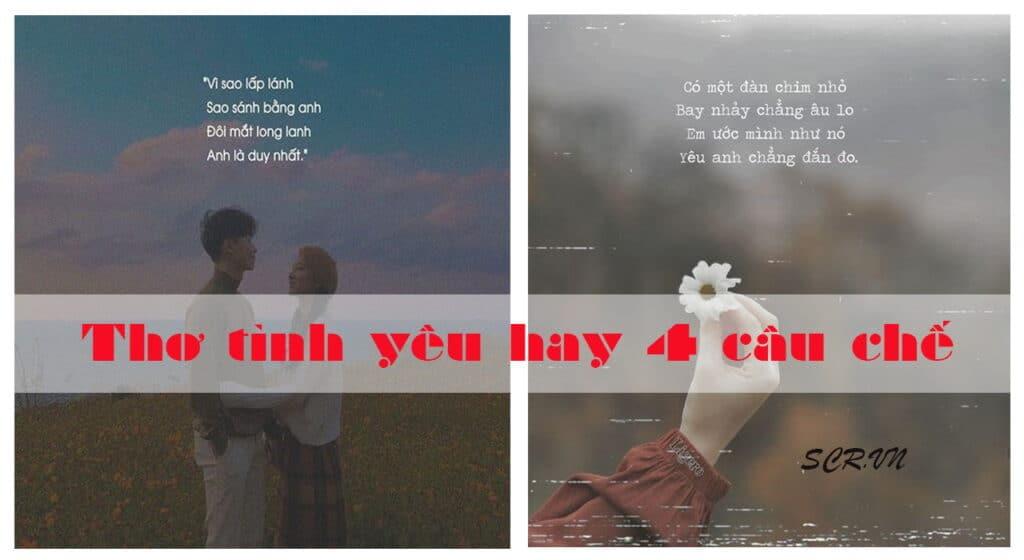 Thơ tình yêu hay 4 câu chế