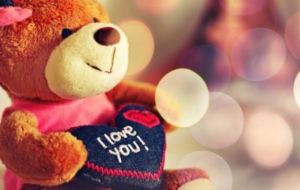 hình gấu bông đáng yêu với chữ i love you