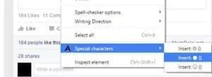 Bấm chuột phải và chọn special characters