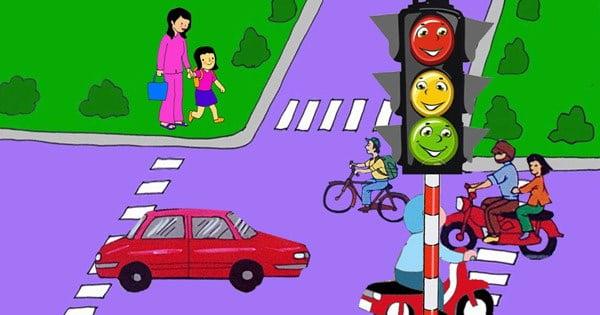 Dạy bé đi qua đường theo tín hiệu giao thông