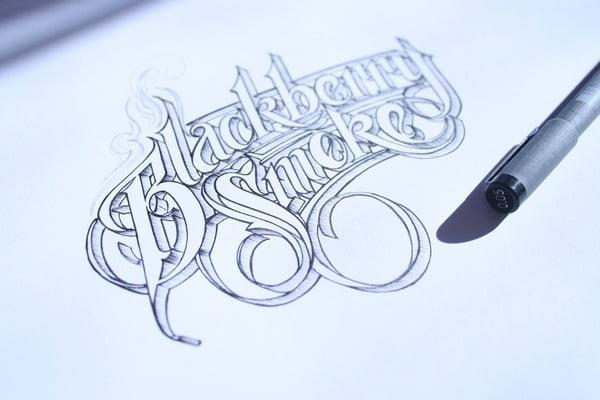 Hình ảnh chữ kiểu được vẽ bằng bút chì