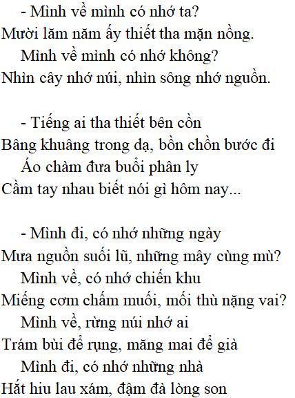 Thơ Việt Bắc lớp 12