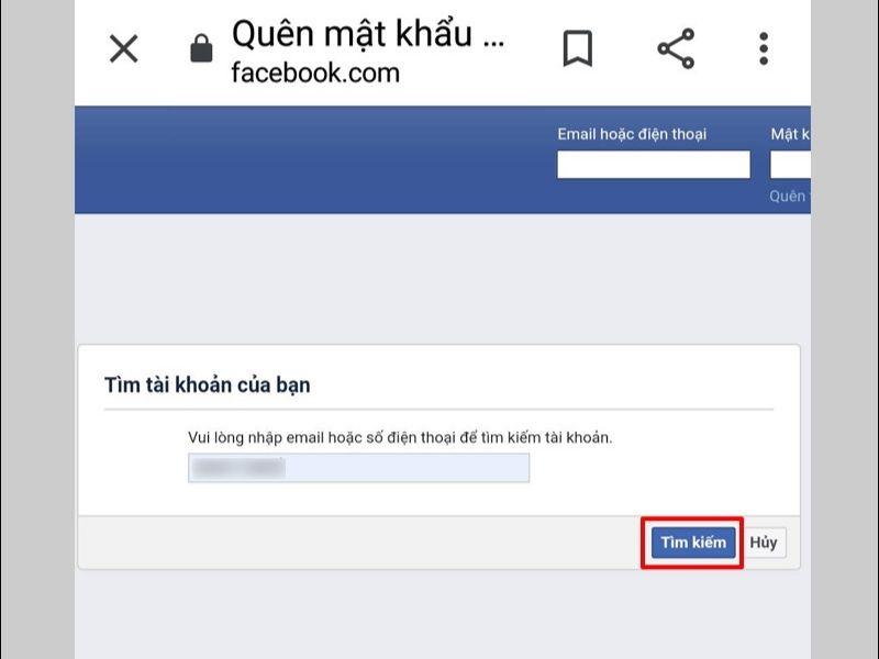 Nhập email hoặc số điện thoại đăng ký facebook của bạn