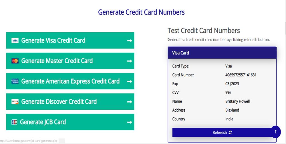 Nhấp vào mục Generate Visa Credit Card để tạo thẻ