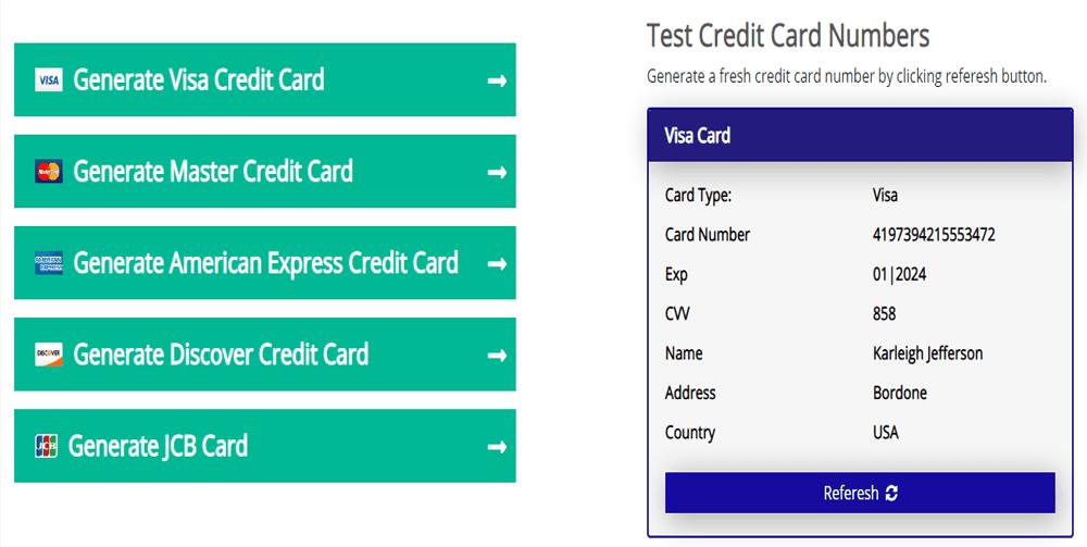Trình tạo thẻ tín dụng miễn phí