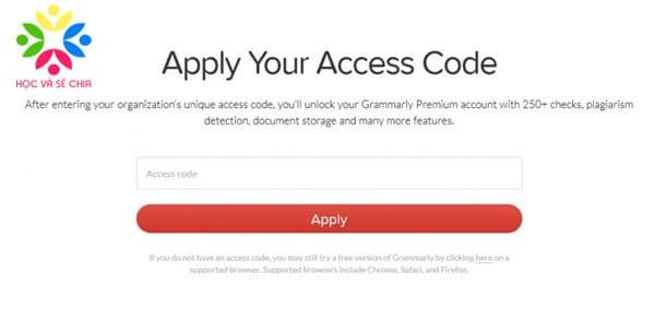 Access Code Grammarly