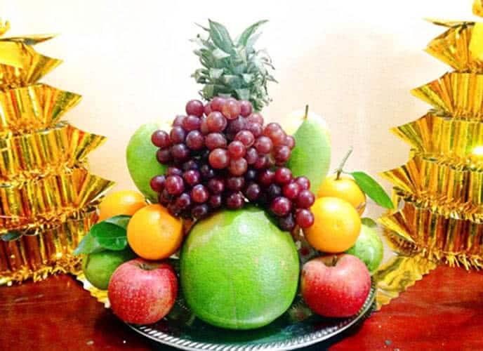 Mâm cúng trái cây ngày lễ khai trương