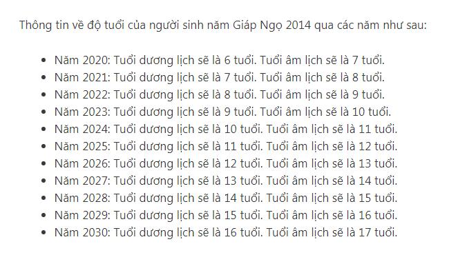 2014 Bao Nhiêu Tuổi