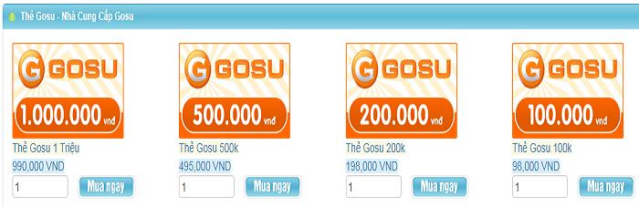 Bảng giá nạp Gosu