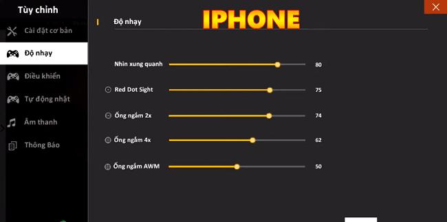 Cách chỉnh độ nhạy headshot cho điện thoại iPhone