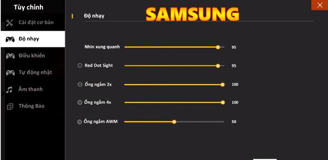 Cách điều chỉnh độ nhạy trong FF cho điện thoại Samsung