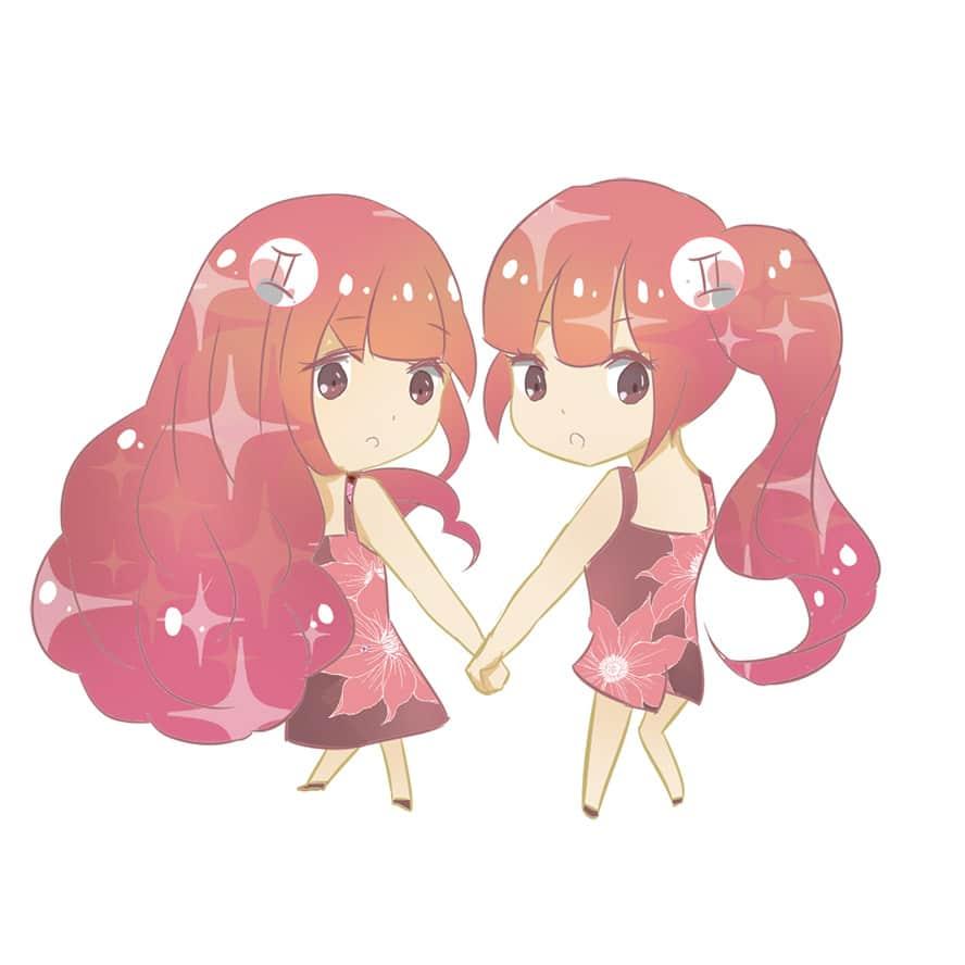 Hình Cung Song Tử Anime Chibi Dễ Thương