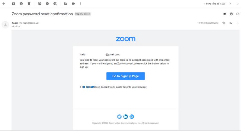 Kiểm tra hòm thư để kích hoạt lại tài khoản
