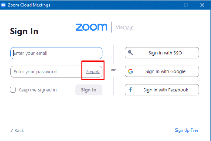 Sử dụng chức năng Quên mật khẩu để đăng nhập Zoom bằng Email cá nhân