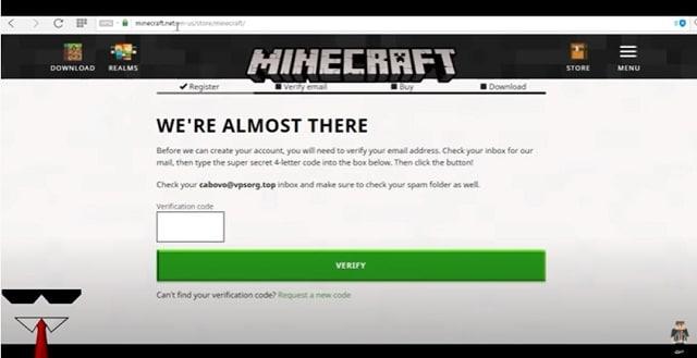 Bước 4 - nhận mã xác thực qua email và kích hoạt tài khoản Minecraft